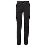Jeans mit Blumen aus Ziersteinen, schwarz