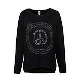 Pullover mit Peace-Zeichen, schwarz