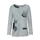 Sweatshirt mit Schmuck-Patches, blau-grau stone washed