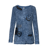Sweatshirt mit Schmuck-Patches, sky blue stone washed