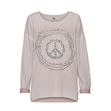 Strickpullover mit Peace-Motiv, rosenholz