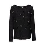 Basic Shirt mit Ziersteinen, schwarz