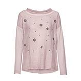 Basic Shirt mit Ziersteinen, rosenholz