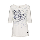 "Tunikashirt mit ""Rock Star""-Motiv 3/4 Arm, offwhite"