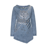 Sweatshirt im Tiger-Look, jeansblau stone washed