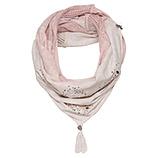 Loop-Schal mit Strick-Netz und Steinchen, rosenholz