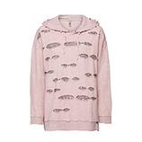 Sweatshirt mit Pailletten und Perlen, rosenholz stone washed