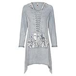 Kleid mit Mesh-Kapuze und Pailletten, Tablet wash, platin