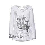 Sweatshirt mit Metallic-Frontprint, weiß