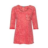 Lockeres Basic Shirt mit Spitzenapplikation und Ziersteinen, blutorange