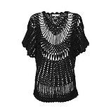 Transparentes Häkelshirt mit Perlen, schwarz