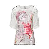 Off-Shoulder Shirt mit Print-Design, offwhite