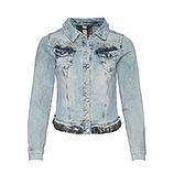 Jeansjacke mit Ziersteinen, light blue