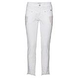 Cropped Hose mit Schmuckperlen 70cm, weiß