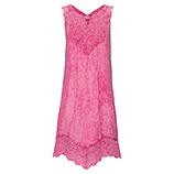 Leinen-Kleid mit Spitze, azalee