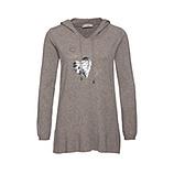 Kapuzen-Pullover mit Pailletten-Herz, taupe-melange