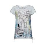 Shirt mit Print und Spitze, silver blue