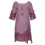 Leinen-Kleid mit Spitze und Netz, hortensie