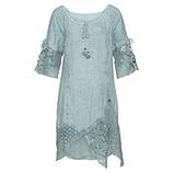 Kleid mit Spitze und Netz, aquamarin