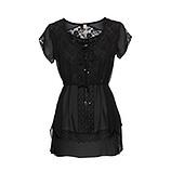 Transparente Bluse mit Spitze, schwarz
