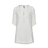 Bluse mit Reißverschluss-Design 3/4 Arm, offwhite