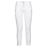 Hose mit Ziersteinen und Spitze 70cm, weiß