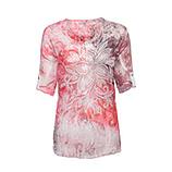 Crash-Bluse im Floralprint, blutorange