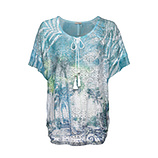Transparentes Print-Shirt, türkis