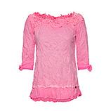 Basic Shirt mit floraler Applikation, neonpink
