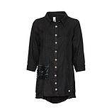 Leinen-Bluse mit Glitzersteinen, schwarz