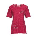 Basic Shirt mit Glitzersteinen, rubin