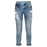 Jeans mit Blüten-Applikation 72cm, denim