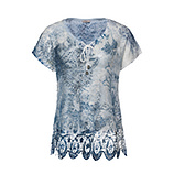 Netzshirt im Alloverprint, denim