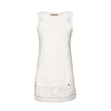 Basic Top mit Floral-Applikation, offwhite