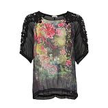 Bluse mit Floral-Design, schwarz