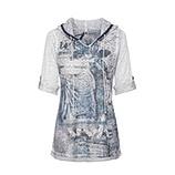 Shirt mit transparenter Front, silber