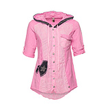 Crash-Bluse mit Patches, neonpink