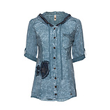 Bluse mit Patches, denim