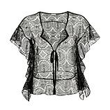 Transparente Spitzen-Jacke, schwarz
