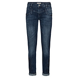 Jeans mit Floralstickerei 80cm, dark denim