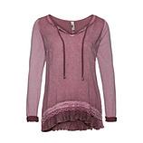 Basic Shirt mit Glitzersteinen und Spitze, hortensie