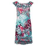 Kleid mit Carmenausschnitt, aquamarin