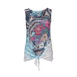 Crash-Top mit floralem Print, aquamarin