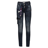 Sweat-Jeans mit Zierband, denim