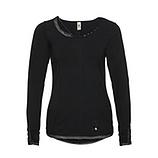 Basic-Shirt mit Ziersteinen, schwarz