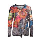 Mesh-Shirt im floralen Print, denim