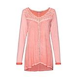 Basic Shirt mit Spitze und Schmucksteinchen, peach