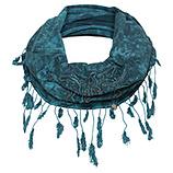 Loop-Schal mit Stickerei, petrol