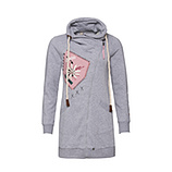 Sweat-Jacke mit Patches, grau-melange