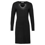 Strick-Kleid mit Glitzersteinchen und Cut-Out, schwarz